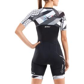 2XU Compression Trisuit met Mouwen Dames, zwart/wit